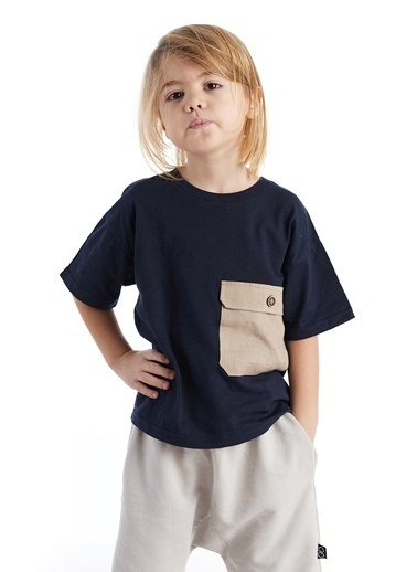 Colorinas Big Pocket Oversize T-Shirt Lacivert